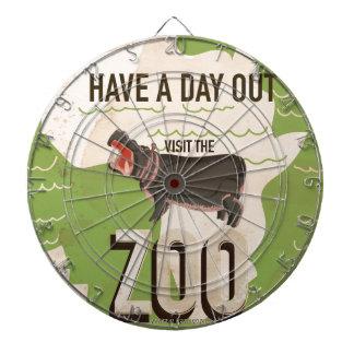 Visit The Zoo Vintage Travel Poster Dartboard