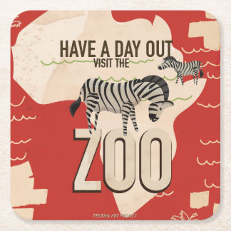 Visit The Zoo Vintage Travel Poster Square Paper Coaster