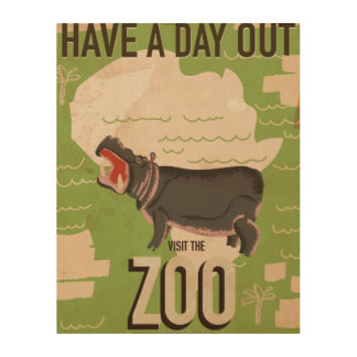 Visit The Zoo Vintage Travel Poster. Wood Canvases