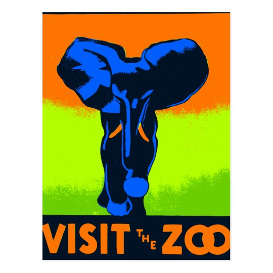 Visit The Zoo Vintage Vector Postcard