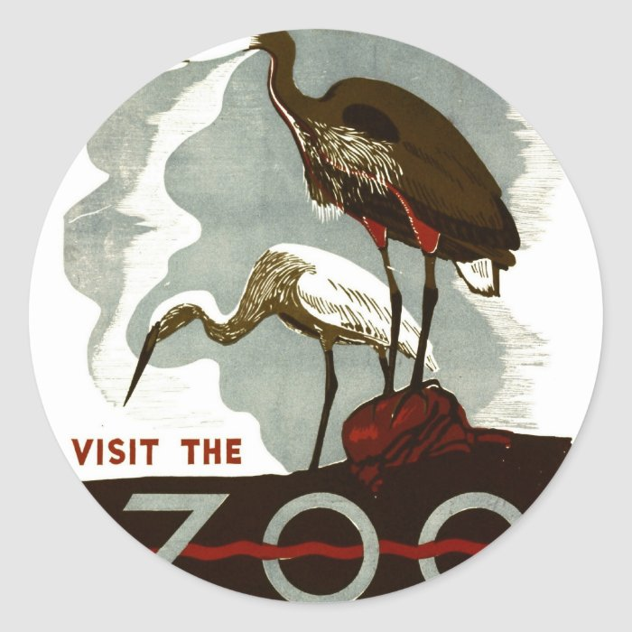 Visit the Zoo - WPA Poster - Classic Round Sticker