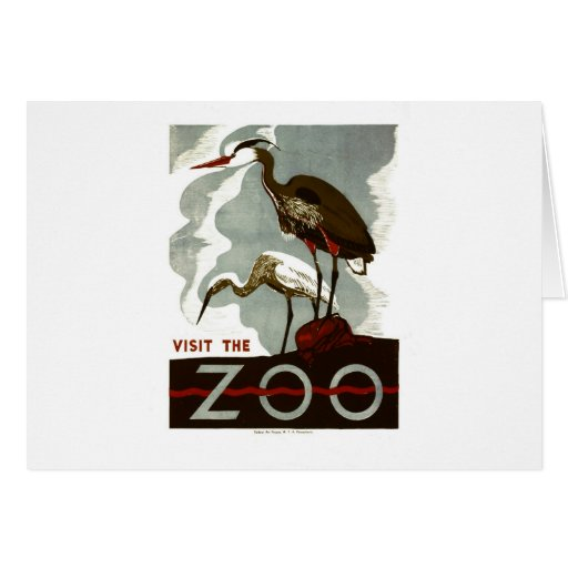 Visit the Zoo - WPA Poster - Greeting Card