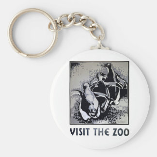Visit the Zoo - WPA Poster - Basic Round Button Keychain