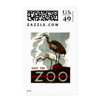 Visit the Zoo - WPA Poster - Postage Stamps