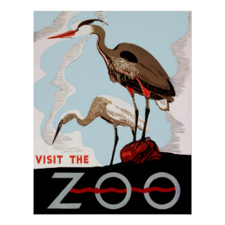 Visit The Zoo WPA Vintage Poster