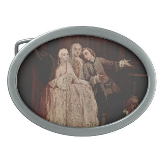 Visit to a library by Pietro Longhi Belt Buckle