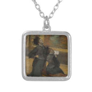 Visit to a Museum by Edgar Degas Silver Plated Necklace