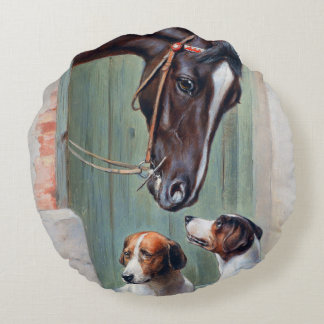 Visit to the Stables by Carl Reichert Round Pillow