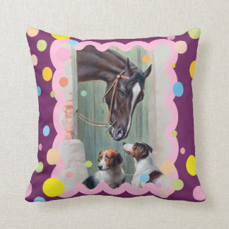 Visit to the Stables by Carl Reichert Throw Pillow