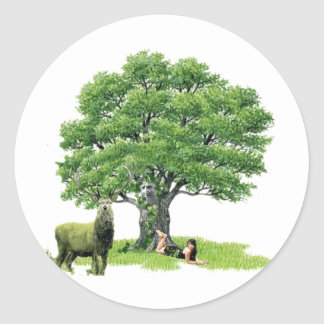 Visit With Father Oak Classic Round Sticker