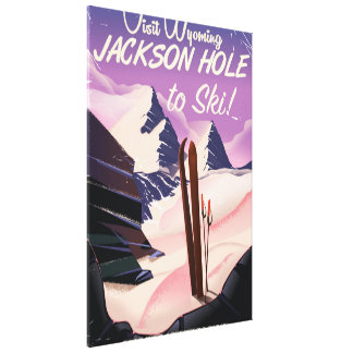 Visit Wyoming! Jackson Hole to ski travel poster Canvas Print