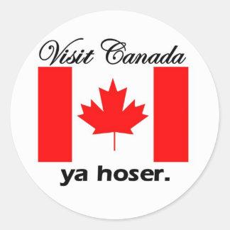 Visita Canadá Ya Hoser Pegatina Redonda
