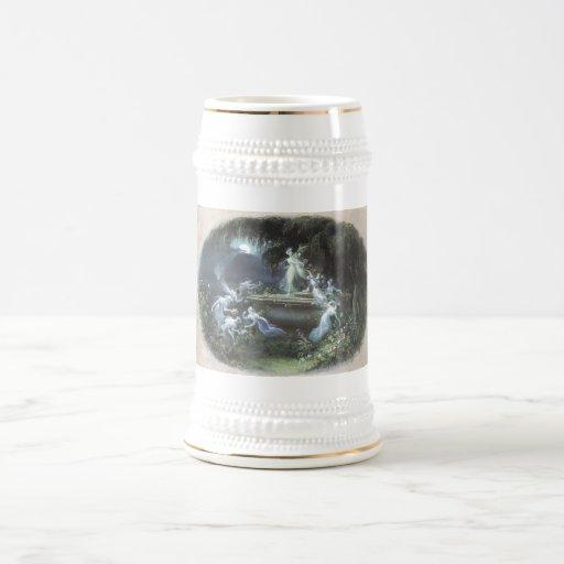 Visita de hadas del vintage en el claro de luna 18 tazas de café