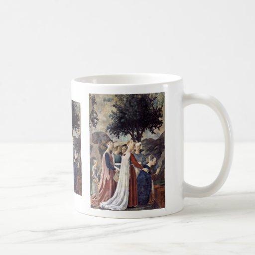Visita de la reina de Sheba con Solomon Tazas De Café