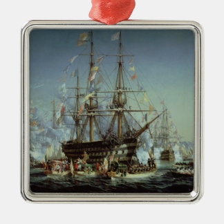 Visita de la reina Victoria a Cherbourg, 1858 Adorno Navideño Cuadrado De Metal