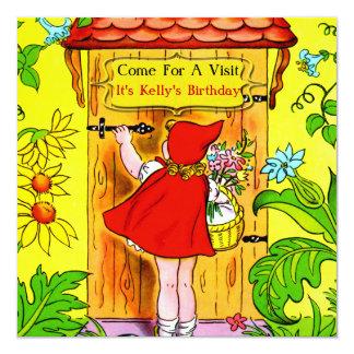 """Visita del cumpleaños de los Caperucita Rojo Invitación 5.25"""" X 5.25"""""""
