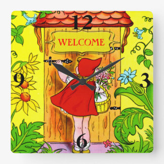 Visita del cumpleaños de los Caperucita Rojo Reloj De Pared