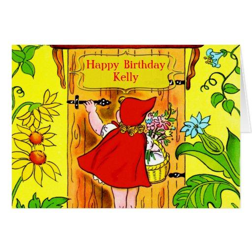 Visita del cumpleaños de los Caperucita Rojo Tarjeta De Felicitación