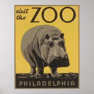 Visita del vintage el parque zoológico Philadelphi Poster