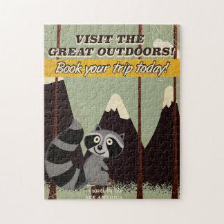 Visita del vintage el poster de las vacaciones de puzzle con fotos