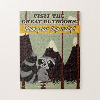 Visita del vintage el poster de las vacaciones de puzzles
