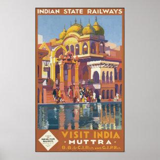 Visita india la India, vintage de los ferrocarrile Posters