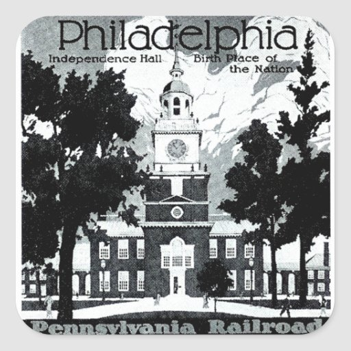 Visita Philadelphia en el ferrocarril de Pegatina Cuadrada