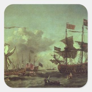 Visita real a la flota, el 5 de junio de 1672 pegatina cuadrada