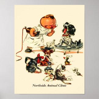 Visita veterinaria del vintage al veterinario póster