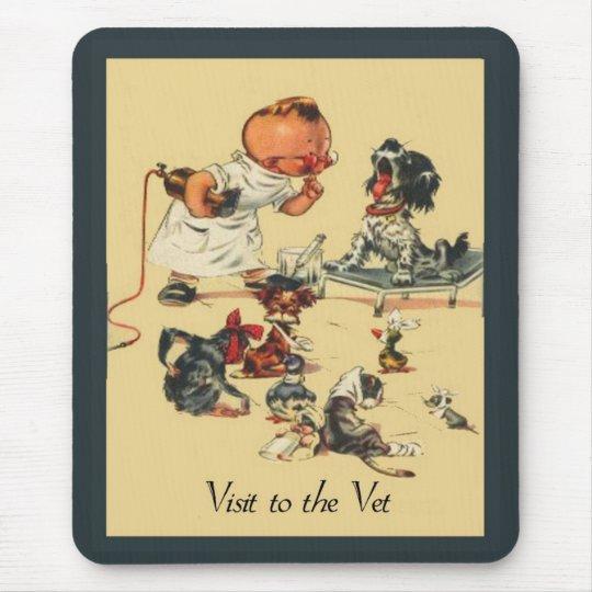 Visita veterinaria del vintage al veterinario tapetes de raton