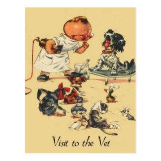 Visita veterinaria del vintage al veterinario tarjetas postales