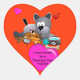 Visitado por los pegatinas de un perro de Thearapy Calcomanía De Corazón Personalizadas