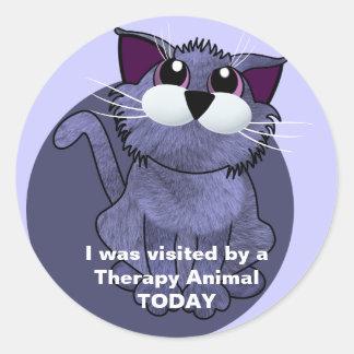 Visitado por un animal de la terapia HOY Pegatinas Redondas