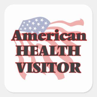 Visitante americano de la salud pegatina cuadrada