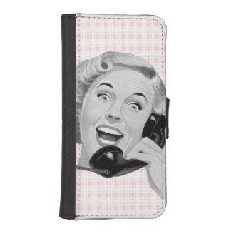 Visitante retro (b) funda billetera para teléfono