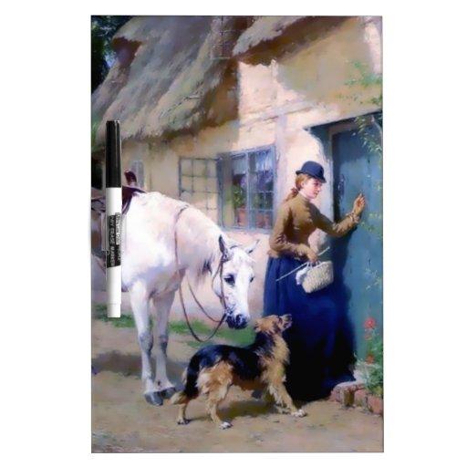 Visitantes de la cabaña del pastor alemán de señor pizarras blancas de calidad