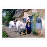 Visitantes de la cabaña del pastor alemán de postal