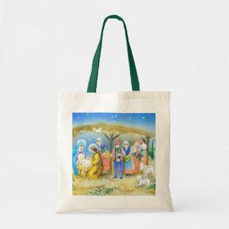 Visitar al niño de Cristo en Belén Bolsas Lienzo