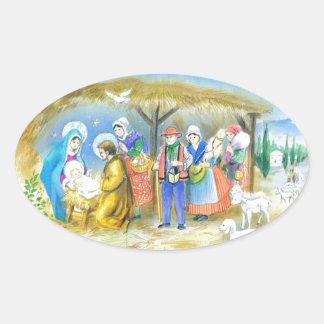 Visitar al niño de Cristo en Belén Pegatina Ovalada