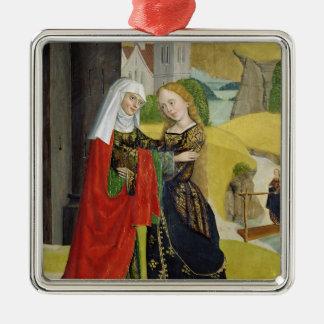 Visitation del altar de la bóveda, 1499 adorno navideño cuadrado de metal