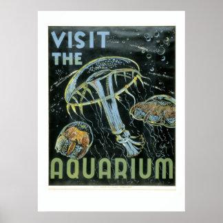 Visite el acuario - el poster de WPA -