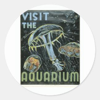 Visite el acuario - el poster de WPA - Pegatina Redonda