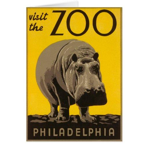 Visite el hipopótamo de Philadelphia del parque zo Tarjeta De Felicitación