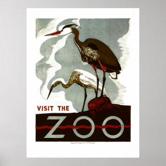 Visite el parque zoológico - el poster de WPA -