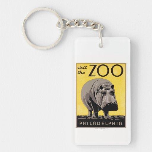Visite el parque zoológico llavero rectangular acrílico a doble cara