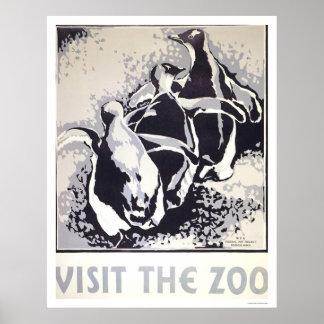 Visite el pingüino del parque zoológico WPA 1936 Poster