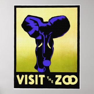 Visite el poster del parque zoológico