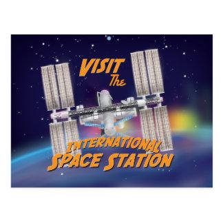 Visite la estación espacial internacional tarjeta postal