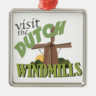 Visite los molinoes de viento adorno cuadrado plateado