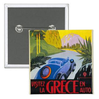 Visitez La Grece En Auto Retro Holiday Poster Pinback Buttons